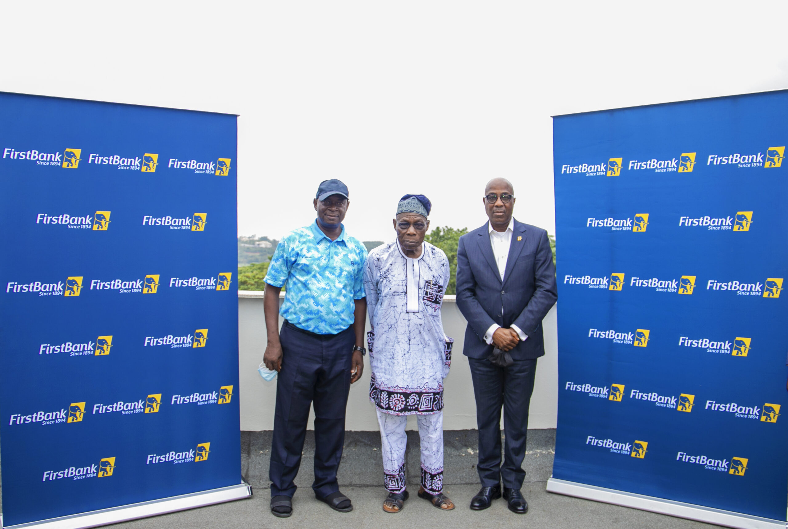 Chief Olusegun Obasanjo, former President, Federal Republic of Nigeria (middle); Mr. Tunde Owolabi, Group Executive, Retail Banking (Lagos & West), First Bank of Nigeria Limited (right) and Mr. Kola Adeneye, Captain of Abeokuta Golf Club (left), following a courtesy visit to Chief Olusegun Obasanjo in Abeokuta on Monday, ahead of the FirstBank sponsored 5th Olusegun Obasanjo Open Golf Championship organised by Abeokuta Golf Club, scheduled for this weekend.